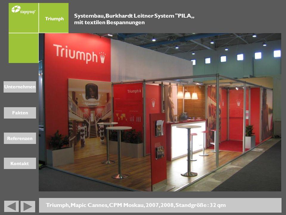 Fakten Unternehmen Referenzen Kontakt Triumph, Mapic Cannes, CPM Moskau, 2007, 2008, Standgröße : 32 qm Systembau, Burkhardt Leitner System