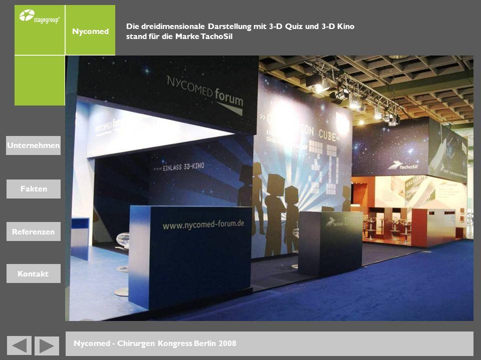 Fakten Unternehmen Referenzen Kontakt Nycomed - Chirurgen Kongress Berlin 2008 Die dreidimensionale Darstellung mit 3-D Quiz und 3-D Kino stand für di