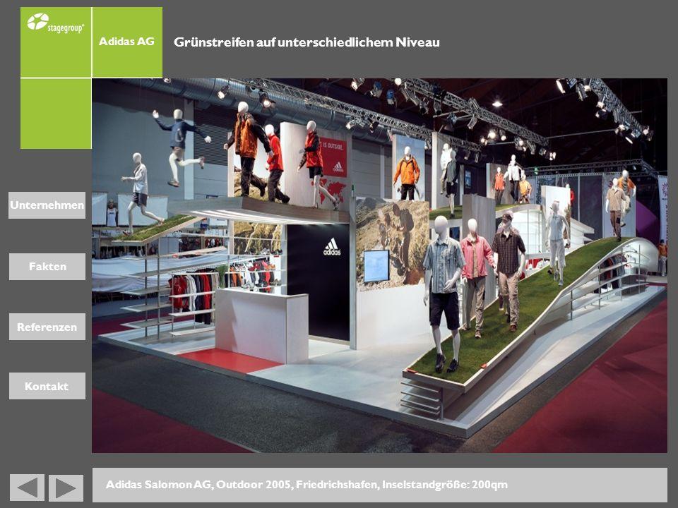 Fakten Unternehmen Referenzen Kontakt Adidas AG Adidas Salomon AG, Outdoor 2005, Friedrichshafen, Inselstandgröße: 200qm Grünstreifen auf unterschiedl