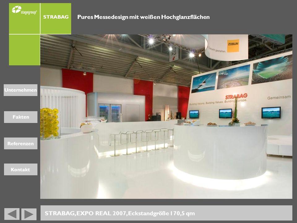 Fakten Unternehmen Referenzen Kontakt STRABAG Pures Messedesign mit weißen Hochglanzflächen STRABAG, EXPO REAL 2007, Eckstandgröße 170,5 qm