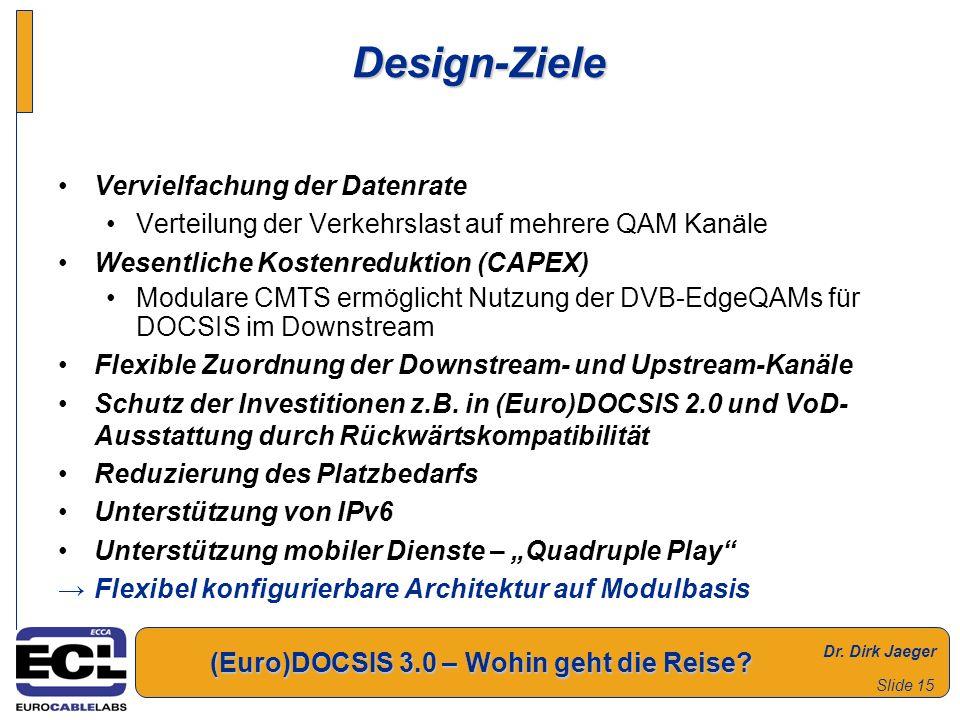 Dr. Dirk Jaeger (Euro)DOCSIS 3.0 – Wohin geht die Reise? Slide 15 Design-Ziele Vervielfachung der Datenrate Verteilung der Verkehrslast auf mehrere QA