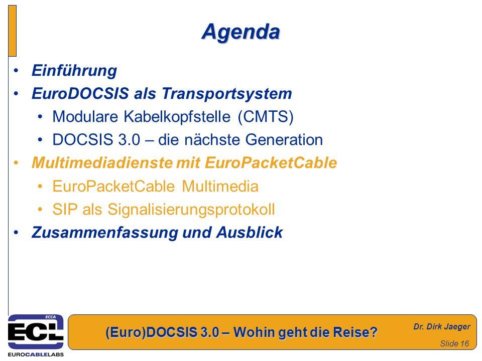 Dr. Dirk Jaeger (Euro)DOCSIS 3.0 – Wohin geht die Reise? Slide 16 Agenda Einführung EuroDOCSIS als Transportsystem Modulare Kabelkopfstelle (CMTS) DOC