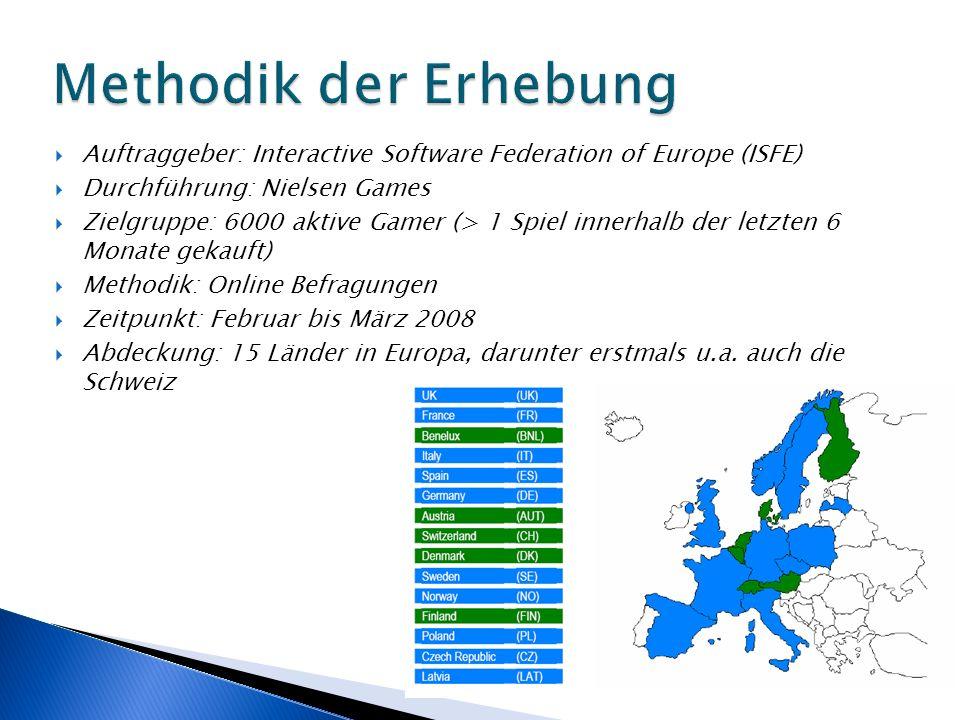 Auftraggeber: Interactive Software Federation of Europe (ISFE) Durchführung: Nielsen Games Zielgruppe: 6000 aktive Gamer (> 1 Spiel innerhalb der letzten 6 Monate gekauft) Methodik: Online Befragungen Zeitpunkt: Februar bis März 2008 Abdeckung: 15 Länder in Europa, darunter erstmals u.a.