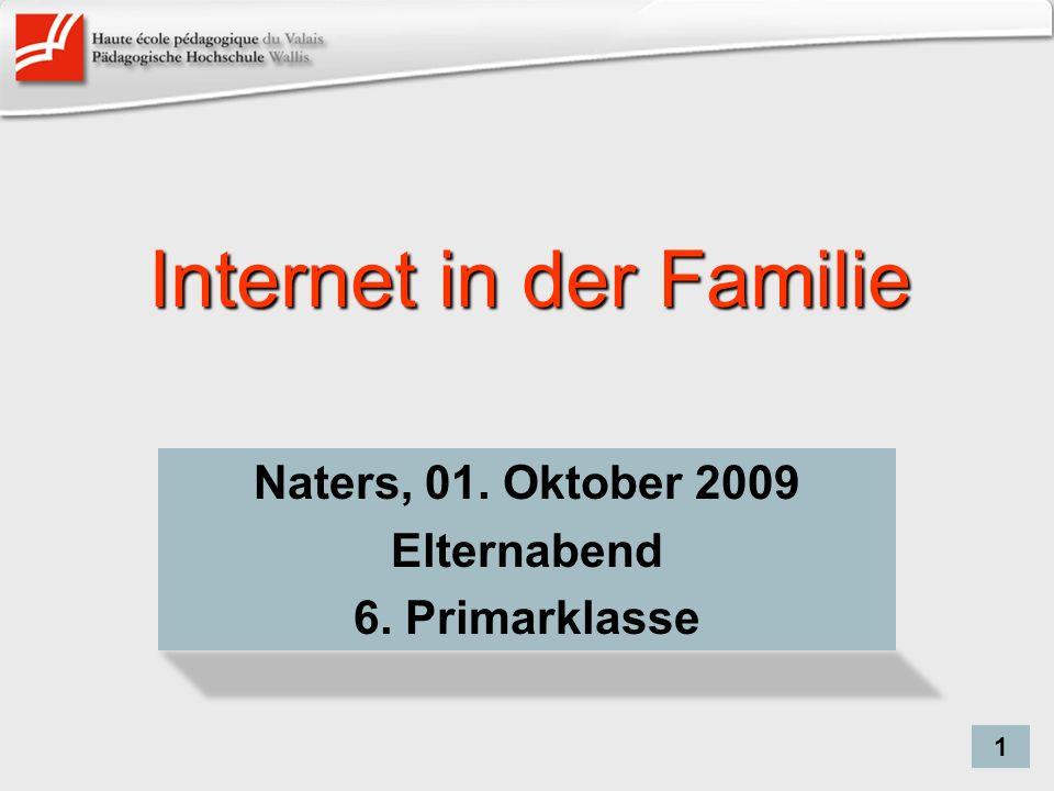 Internet in der Familie Naters, 01. Oktober 2009 Elternabend 6. Primarklasse 1