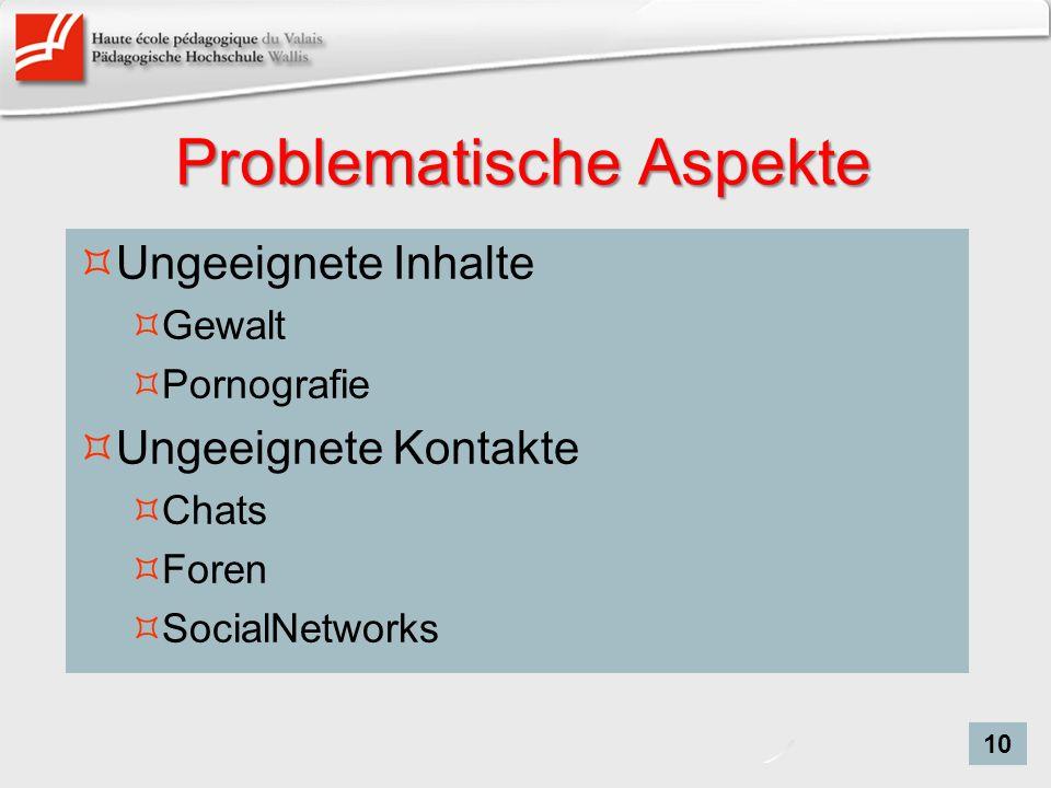 Problematische Aspekte Ungeeignete Inhalte Gewalt Pornografie Ungeeignete Kontakte Chats Foren SocialNetworks 10