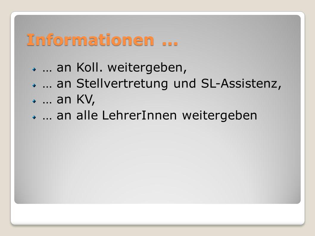 Informationen... … an Koll. weitergeben, … an Stellvertretung und SL-Assistenz, … an KV, … an alle LehrerInnen weitergeben