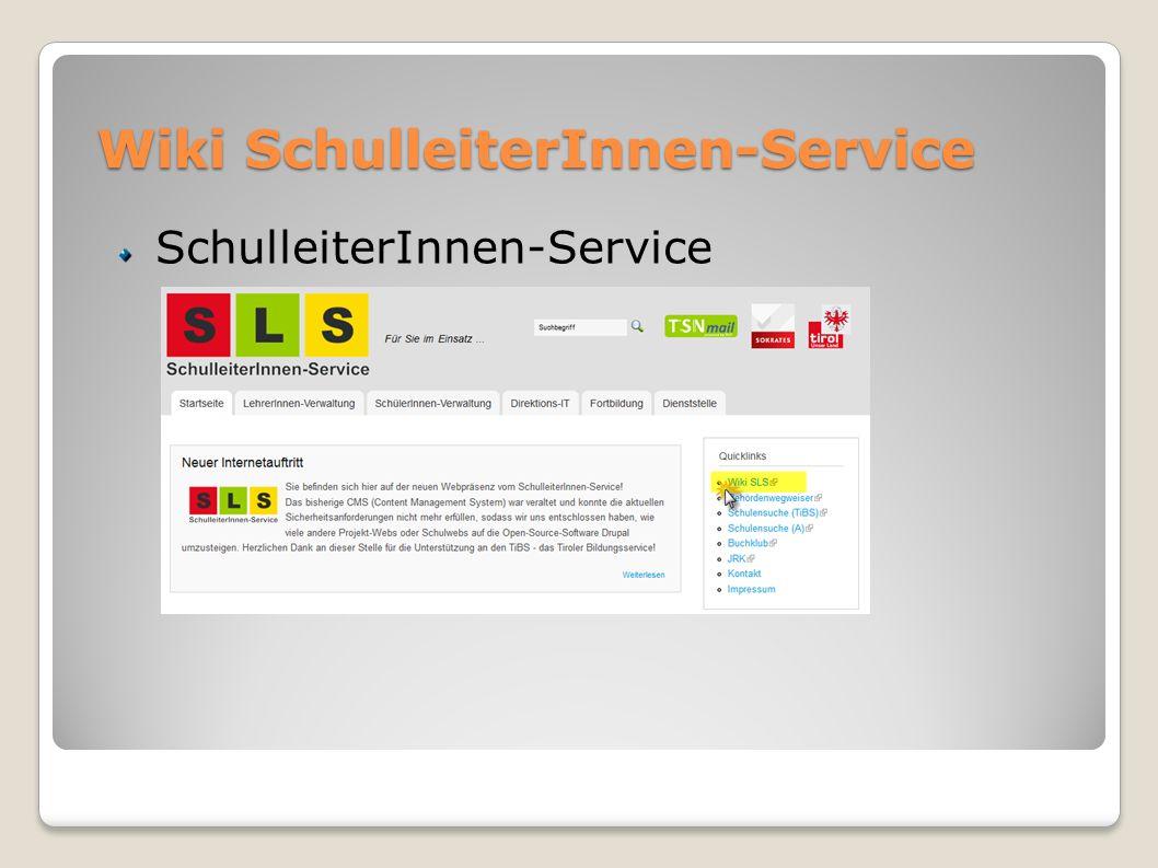 Wiki SchulleiterInnen-Service SchulleiterInnen-Service