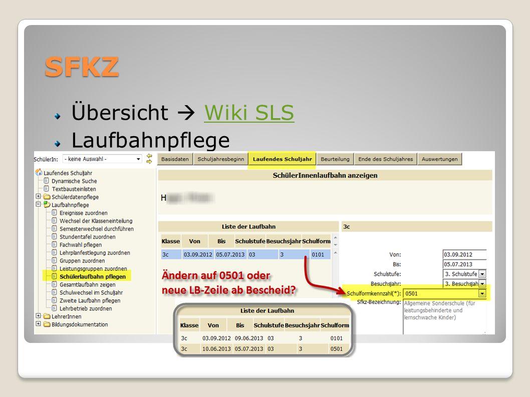 SFKZ Übersicht Wiki SLSWiki SLS Laufbahnpflege