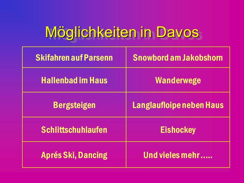 Möglichkeiten in Davos Skifahren auf ParsennSnowbord am Jakobshorn Hallenbad im HausWanderwege BergsteigenLanglaufloipe neben Haus SchlittschuhlaufenEishockey Aprés Ski, DancingUnd vieles mehr.....