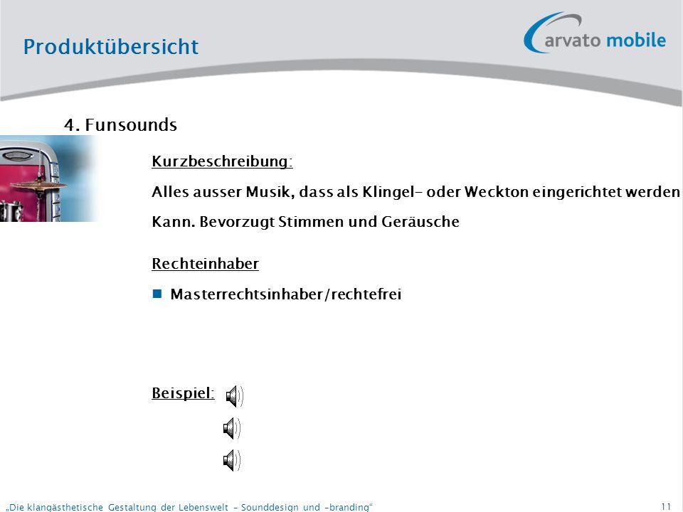 10 Die klangästhetische Gestaltung der Lebenswelt – Sounddesign und –branding Produktübersicht 3.