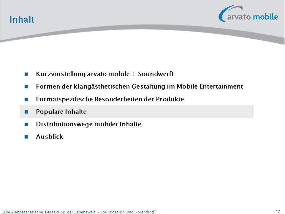 17 Die klangästhetische Gestaltung der Lebenswelt – Sounddesign und –branding Formatspezifische Besonderheiten Content Specs: Beispiele: Vodafone DE: Mobilkom AT: Proximus: Tuten UK:Tuten Europa:
