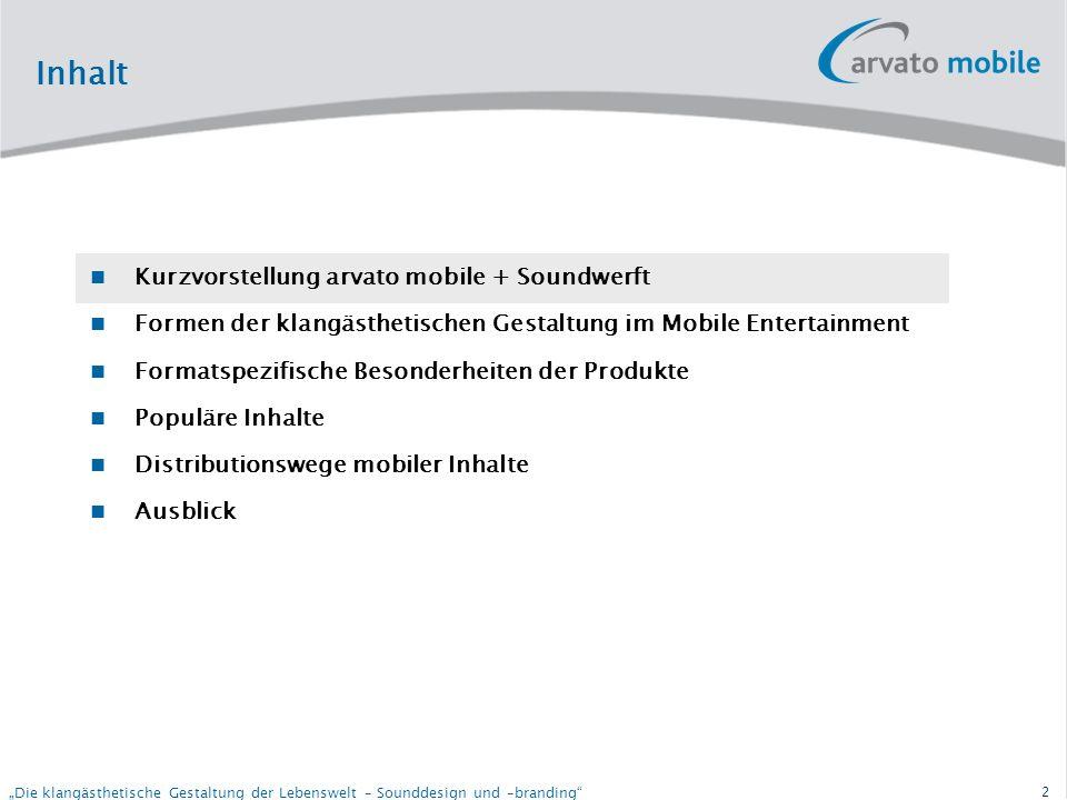 32 Die klangästhetische Gestaltung der Lebenswelt – Sounddesign und –branding Contact Contact: Michael Krause Head of Music arvato mobile GmbH Kehrwieder 8 20457 Hamburg Germany michael.krause@arvato-mobile.de Tel.