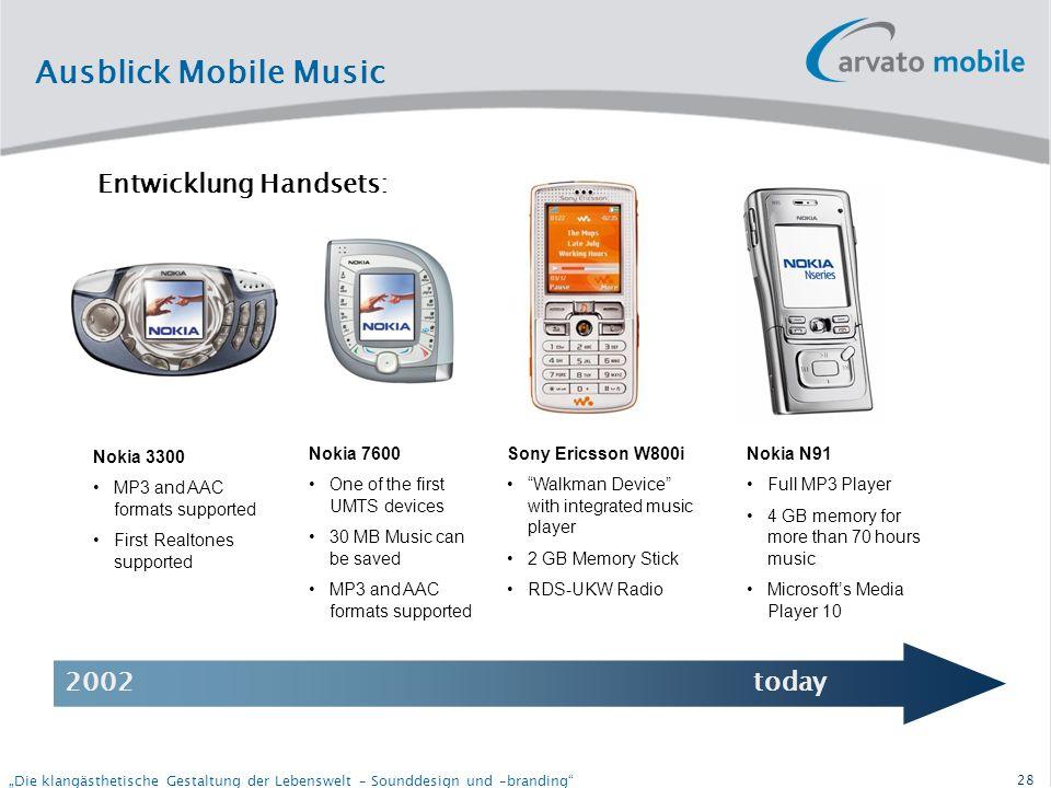 27 Die klangästhetische Gestaltung der Lebenswelt – Sounddesign und –branding Ausblick Mobile Music Mobile Music wird bereits heute von den Handybesitzern stark genutzt Weltweit hören rund 13 Prozent aller Handybesitzer mit ihren Geräten regelmäßig Musik.