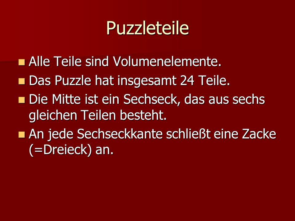 Puzzleteile Alle Teile sind Volumenelemente. Alle Teile sind Volumenelemente. Das Puzzle hat insgesamt 24 Teile. Das Puzzle hat insgesamt 24 Teile. Di