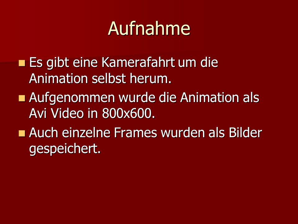 Aufnahme Es gibt eine Kamerafahrt um die Animation selbst herum. Es gibt eine Kamerafahrt um die Animation selbst herum. Aufgenommen wurde die Animati