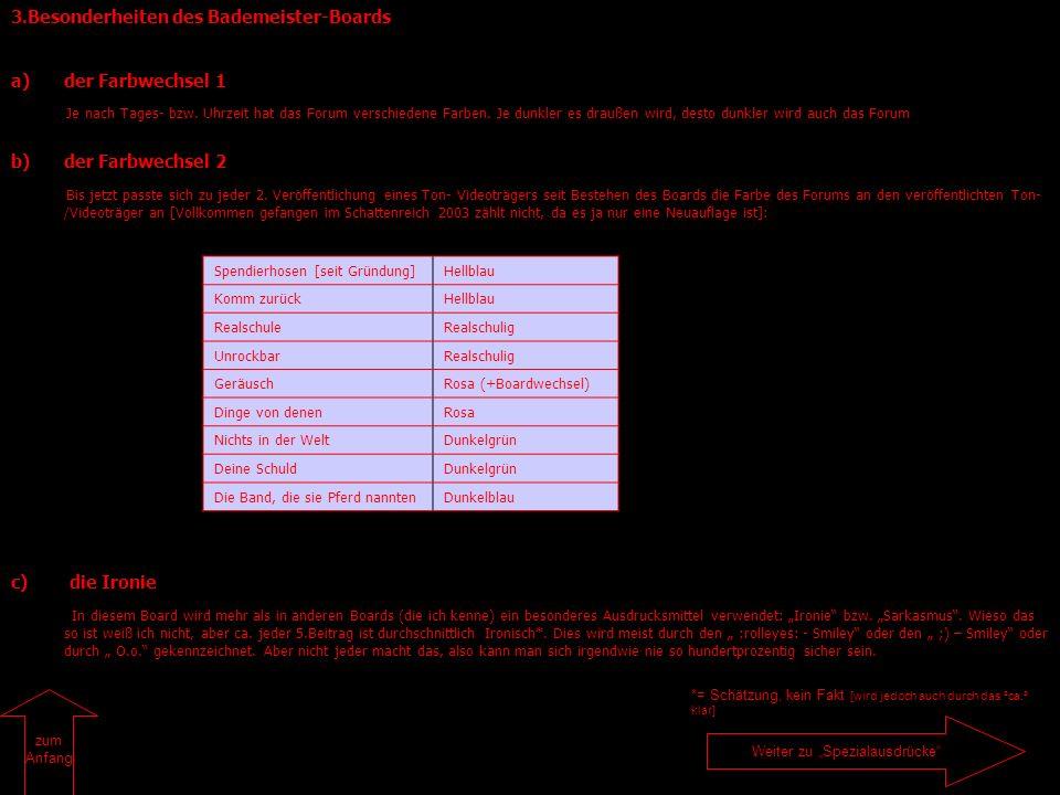 3.Besonderheiten des Bademeister-Boards a)der Farbwechsel 1 Je nach Tages- bzw. Uhrzeit hat das Forum verschiedene Farben. Je dunkler es draußen wird,