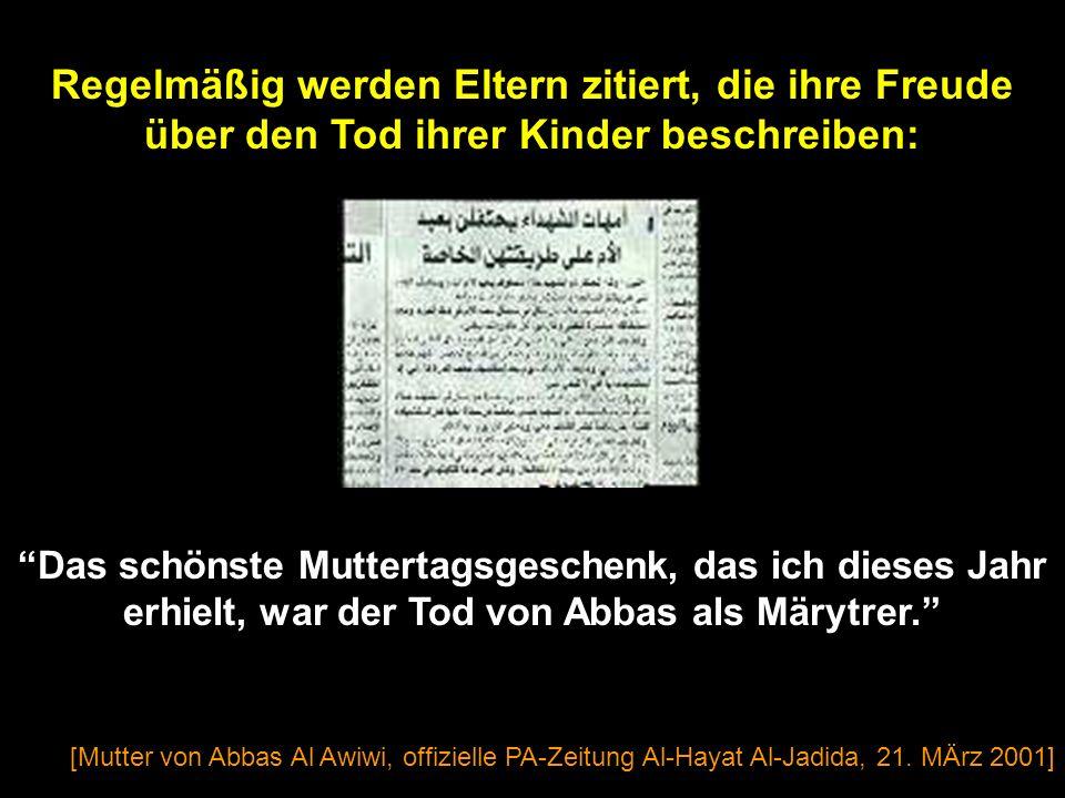 [Al-Ayyam, 1. Feb. 2002] Kleinen Mädchen werden Poster gegeben, die die erste Selbstmord-Bomberin als Helden-Märtyrerin Wafa Idris verehren.