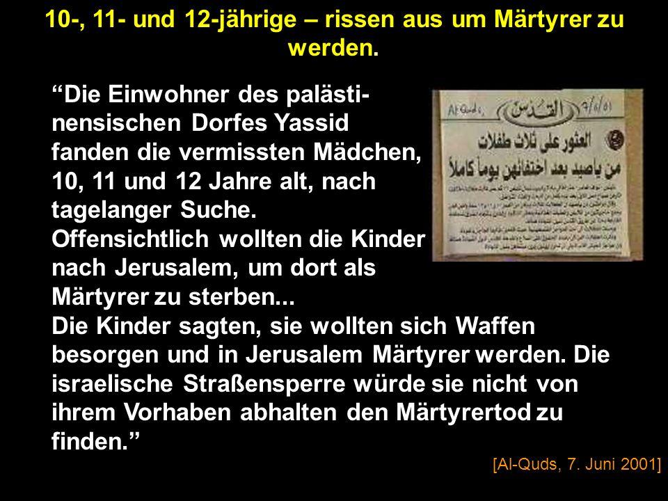 [Sout Al-Nissa-Stimme der Frauen, Al-Ayyam, 28. Februar 2002] Nachdem sie diesen Teil las, wurde ihre Miene von Stolz und Ehre erfüllt wegen des Opfer