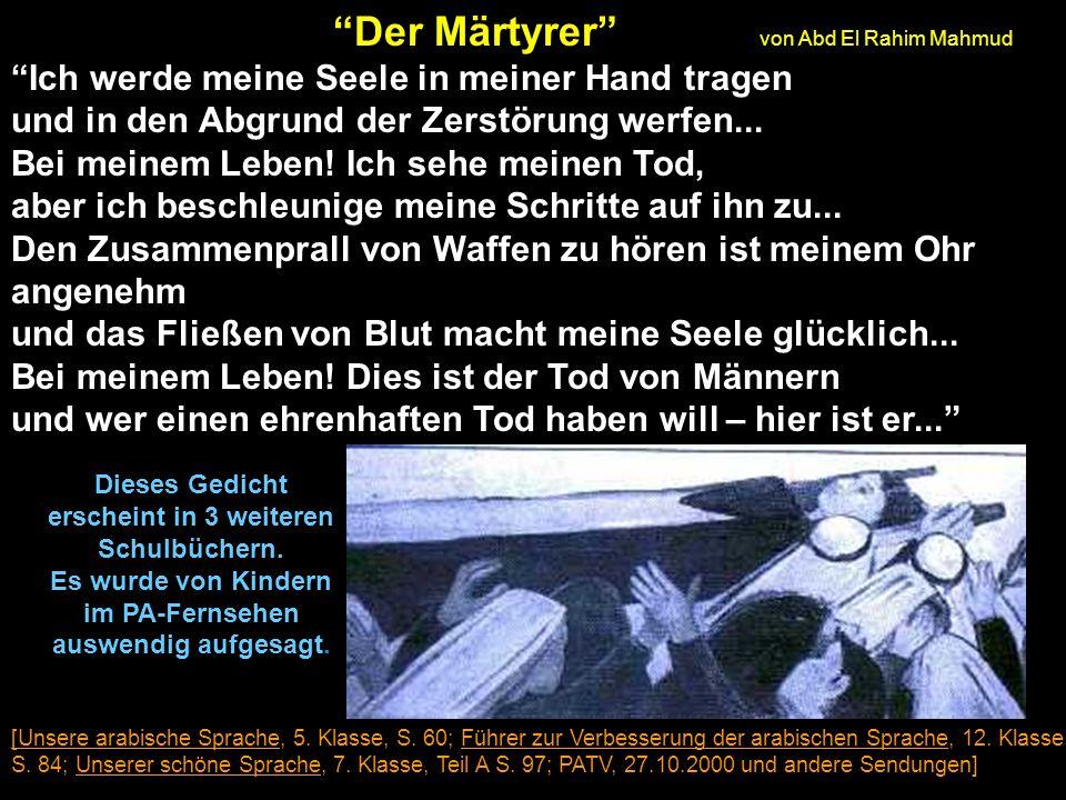 Der Märtyrer von Abd El Rahim Mahmud Ich werde meine Seele in meiner Hand tragen und in den Abgrund der Zerstörung werfen...