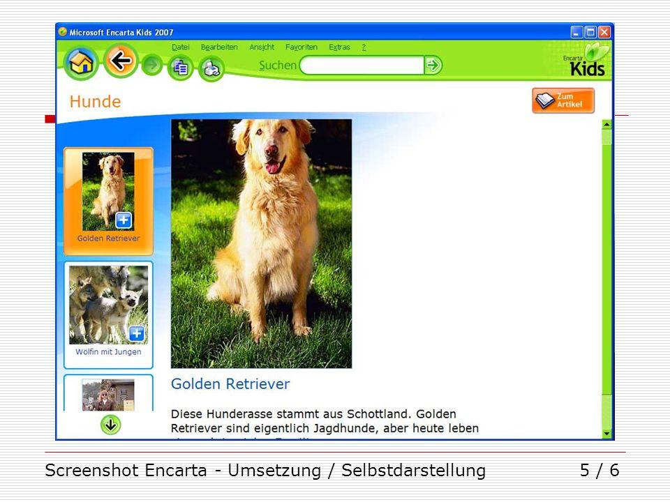 Screenshot Encarta - Umsetzung / Selbstdarstellung5 / 6
