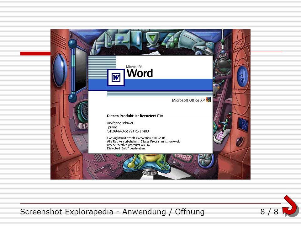 Screenshot Explorapedia - Anwendung / Öffnung8 / 8