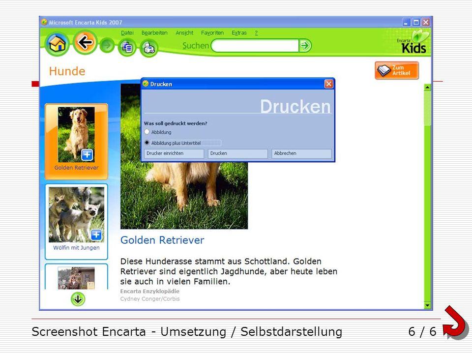 Screenshot Encarta - Umsetzung / Selbstdarstellung6 / 6