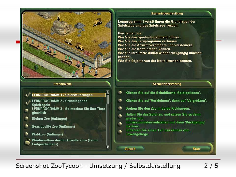 Screenshot ZooTycoon - Umsetzung / Selbstdarstellung2 / 5