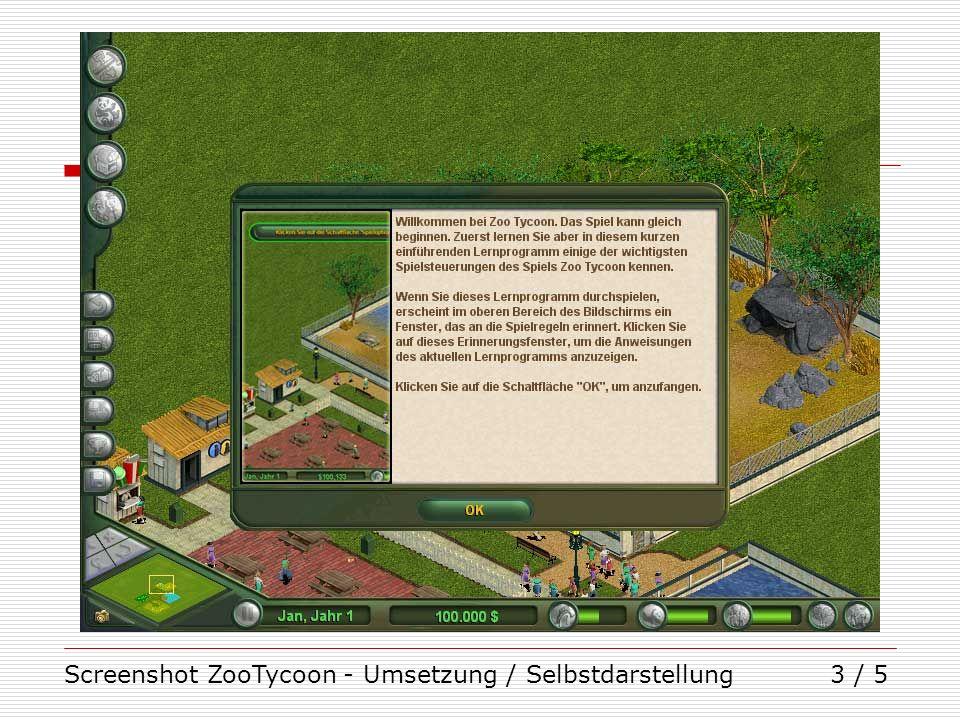 Screenshot ZooTycoon - Umsetzung / Selbstdarstellung3 / 5