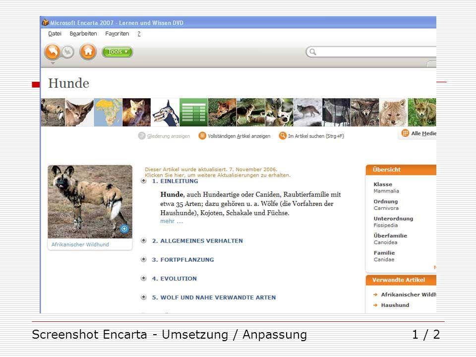 Screenshot Encarta - Umsetzung / Anpassung1 / 2