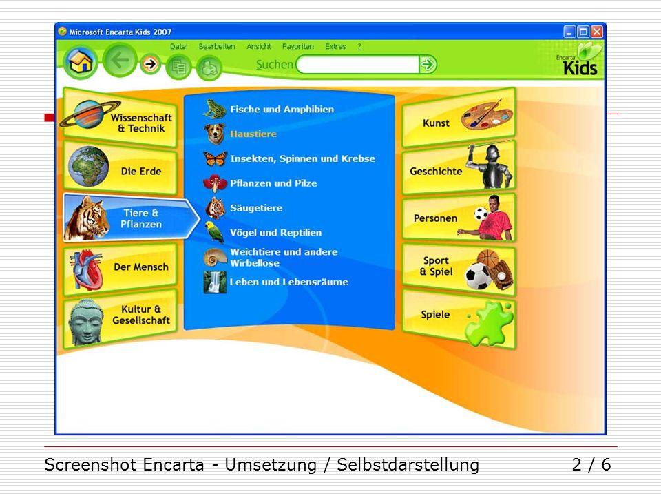 Screenshot Encarta - Umsetzung / Selbstdarstellung3 / 6
