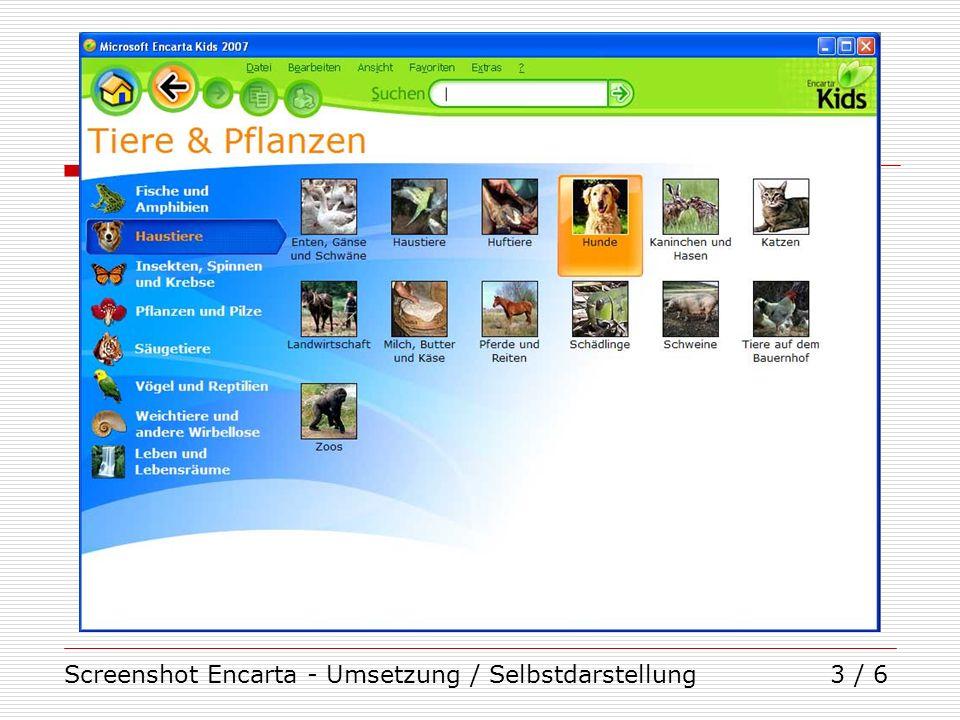 Screenshot Encarta - Umsetzung / Selbstdarstellung4 / 6