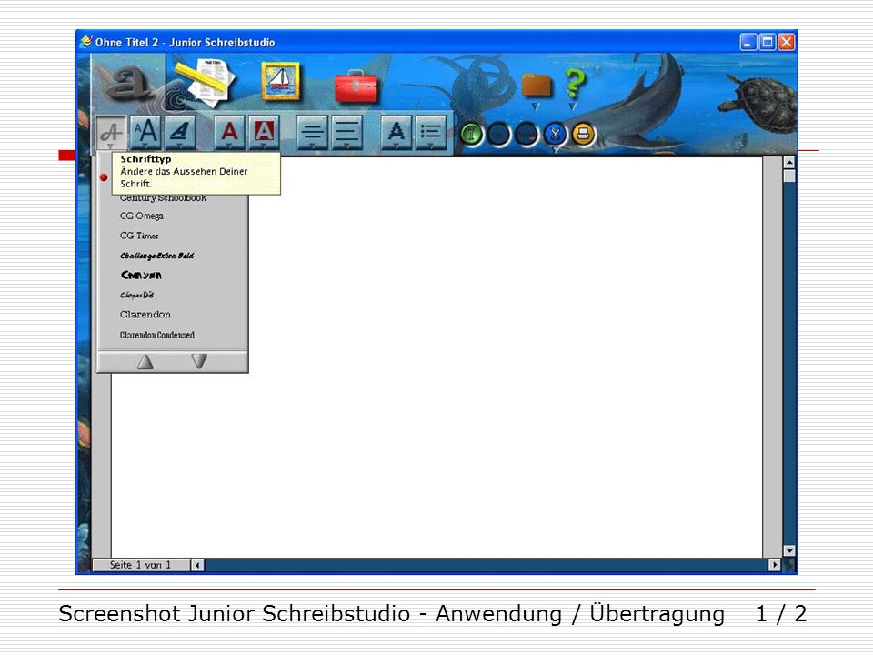 Screenshot Junior Schreibstudio - Anwendung / Übertragung1 / 2