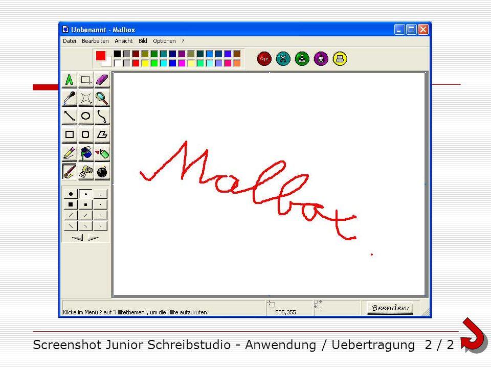 Screenshot Junior Schreibstudio - Anwendung / Uebertragung2 / 2