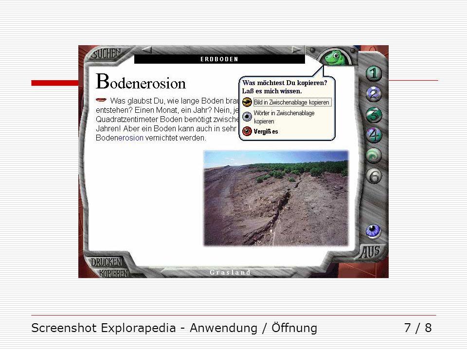 Screenshot Explorapedia - Anwendung / Öffnung7 / 8