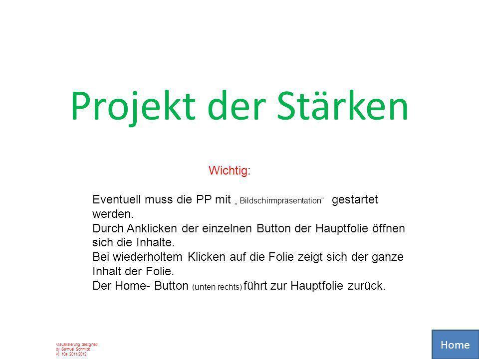 Projekt der Stärken Visualisierung designed by Samuel Schmidt Kl. 10a 2011/2012 Wichtig: Eventuell muss die PP mit Bildschirmpräsentation gestartet we