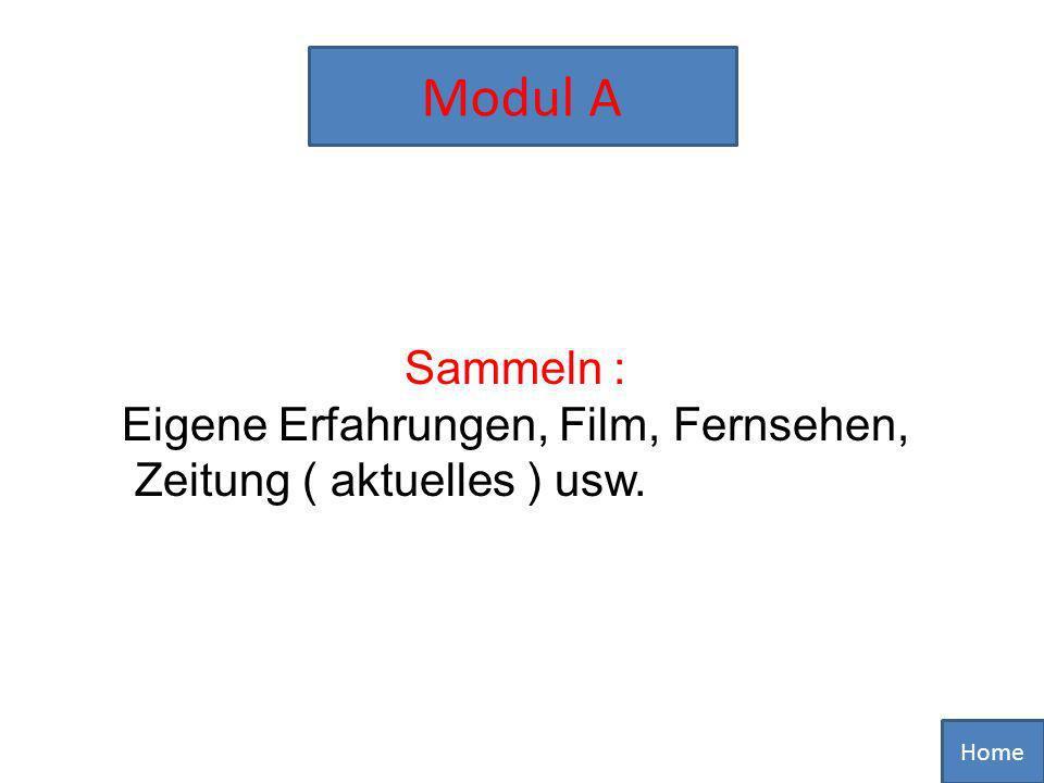 Home Modul A Sammeln : Eigene Erfahrungen, Film, Fernsehen, Zeitung ( aktuelles ) usw.