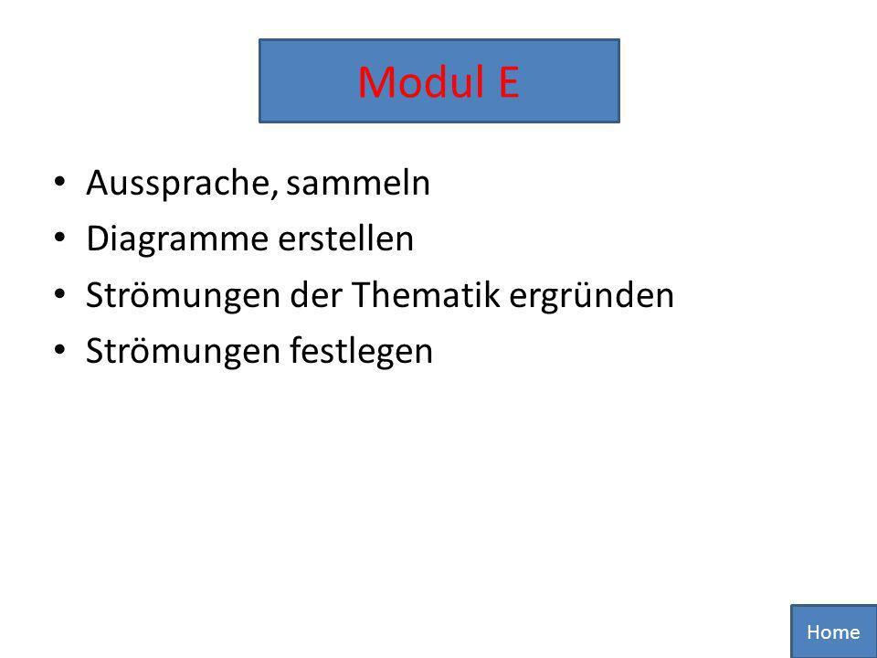 Aussprache, sammeln Diagramme erstellen Strömungen der Thematik ergründen Strömungen festlegen Home Modul E