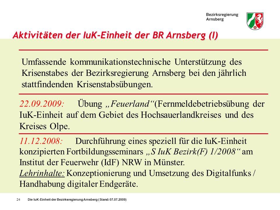 Die IuK-Einheit der Bezirksregierung Arnsberg (Stand: 07.07.2009)24 Aktivit ä ten der IuK-Einheit der BR Arnsberg (I) 11.12.2008:Durchführung eines sp