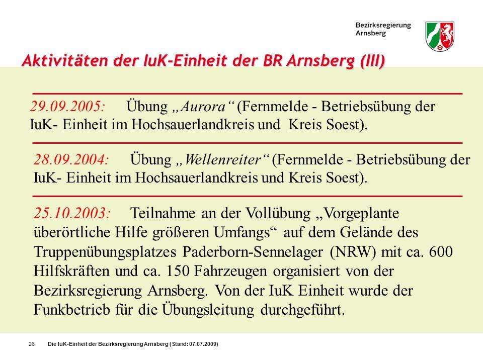 Die IuK-Einheit der Bezirksregierung Arnsberg (Stand: 07.07.2009)26 Aktivit ä ten der IuK-Einheit der BR Arnsberg (III) 29.09.2005:Übung Aurora (Fernm