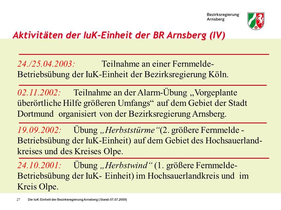 Die IuK-Einheit der Bezirksregierung Arnsberg (Stand: 07.07.2009)27 Aktivit ä ten der IuK-Einheit der BR Arnsberg (IV) 24./25.04.2003:Teilnahme an ein