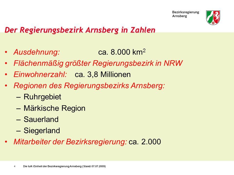 Die IuK-Einheit der Bezirksregierung Arnsberg (Stand: 07.07.2009)4 Der Regierungsbezirk Arnsberg in Zahlen Ausdehnung:ca. 8.000 km 2 Flächenmäßig größ