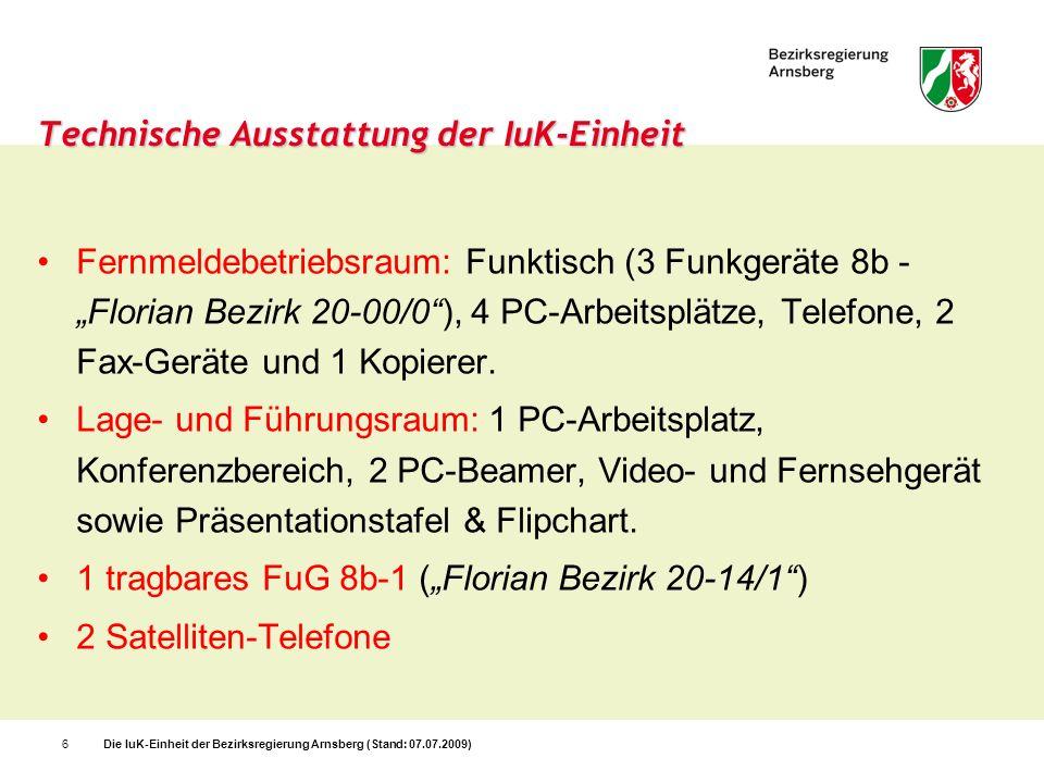 Die IuK-Einheit der Bezirksregierung Arnsberg (Stand: 07.07.2009)6 Technische Ausstattung der IuK-Einheit Fernmeldebetriebsraum: Funktisch (3 Funkgerä