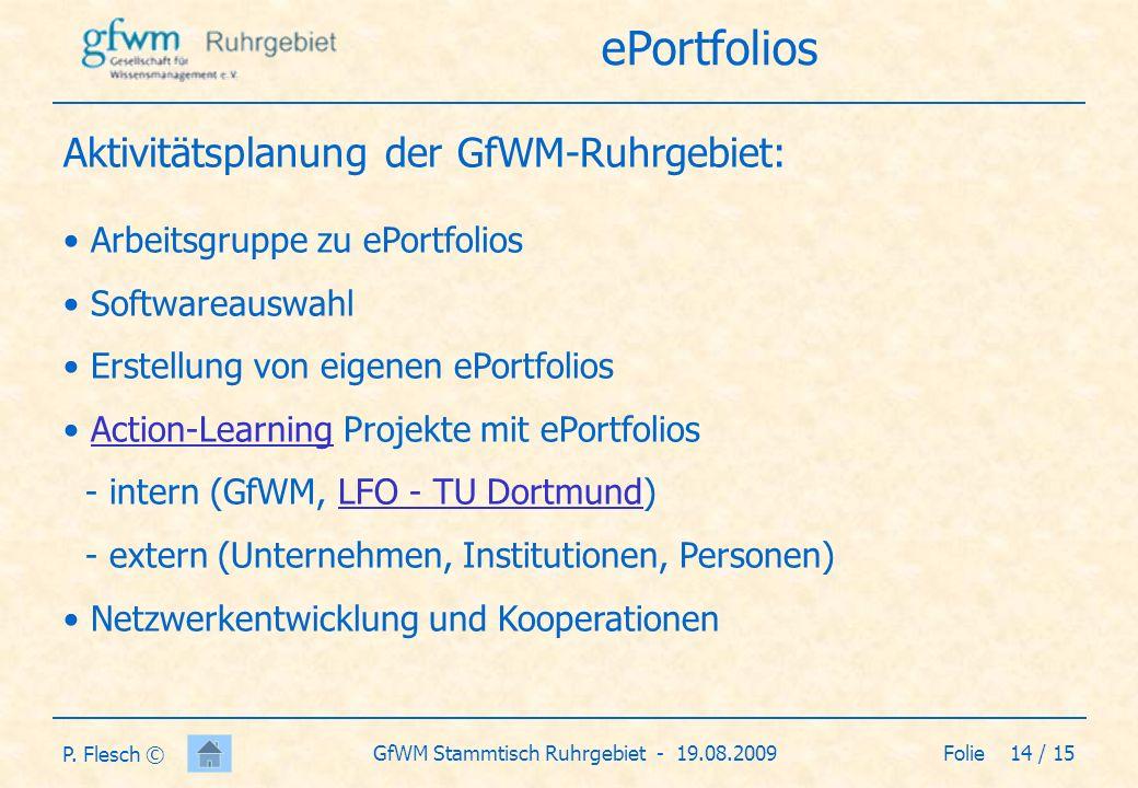 Folie 15 / 15GfWM Stammtisch Ruhrgebiet - 19.08.2009 P.