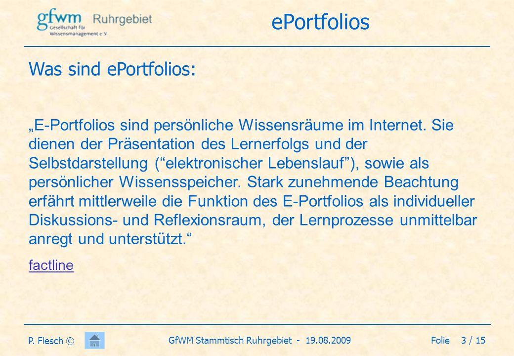 Folie 4 / 15GfWM Stammtisch Ruhrgebiet - 19.08.2009 P.