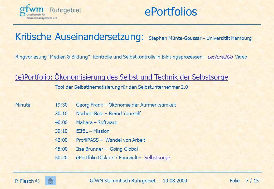 Folie 8 / 15GfWM Stammtisch Ruhrgebiet - 19.08.2009 P.