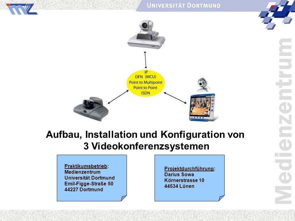 Medienzentrum Aufbau, Installation und Konfiguration von 3 Videokonferenzsystemen Projektdurchführung: Darius Sowa Körnerstrasse 10 44534 Lünen Prakti