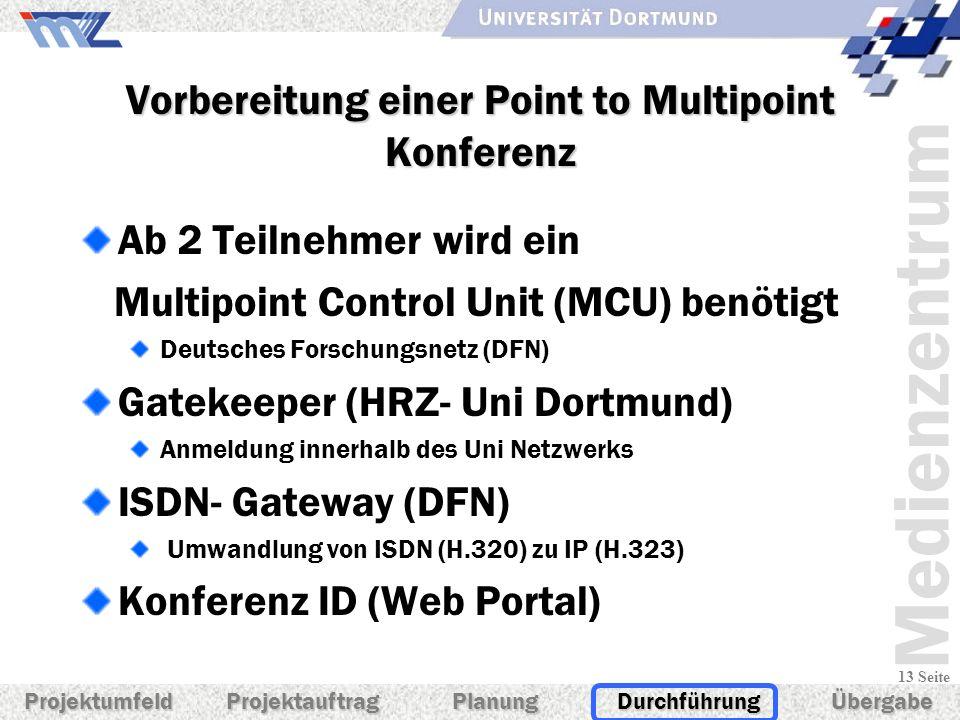 Medienzentrum 13 Seite Vorbereitung einer Point to Multipoint Konferenz Ab 2 Teilnehmer wird ein Multipoint Control Unit (MCU) benötigt Deutsches Fors