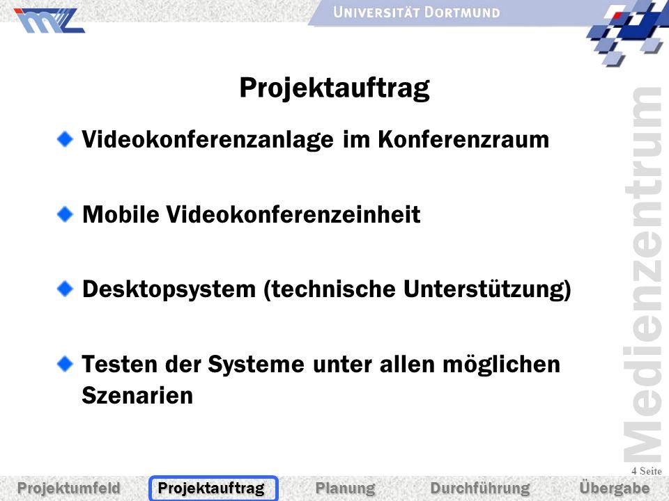 Medienzentrum 4 Seite Projektauftrag Videokonferenzanlage im Konferenzraum Mobile Videokonferenzeinheit Desktopsystem (technische Unterstützung) Teste