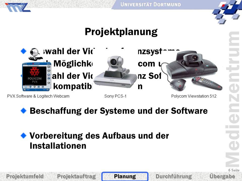 Medienzentrum 6 Seite Projektplanung Auswahl der Videokonferenzsysteme Nach Möglichkeit FA. Polycom und Sony Auswahl der Videokonferenz Software und e