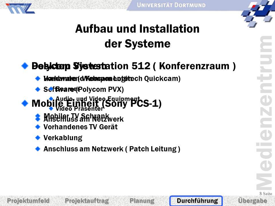 Medienzentrum 8 Seite Aufbau und Installation der Systeme Desktop System Hardware ( Webcam Logitech Quickcam) Software (Polycom PVX) Mobile Einheit (S